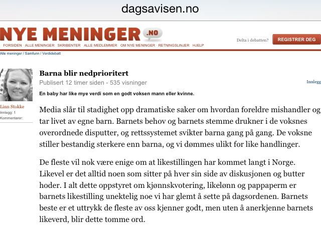 Dagsavisen 101114 - Linn Stokke - kronikk - RED
